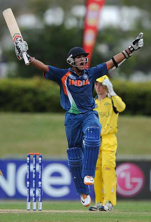 Smit Patel of India celebrates scoring the winning runs during the 2012 ICC U19 Cricket World Cup Final between Australia and India
