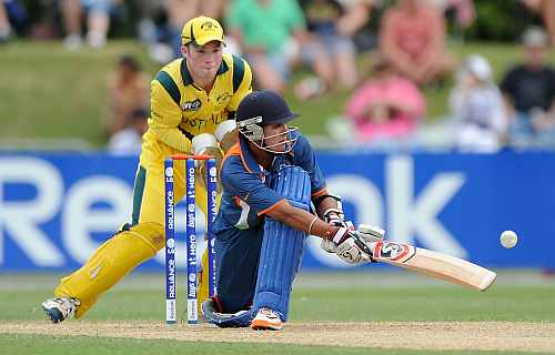 Smit Patel of India bats during the 2012 ICC U19 Cricket World Cup Final between Australia and India
