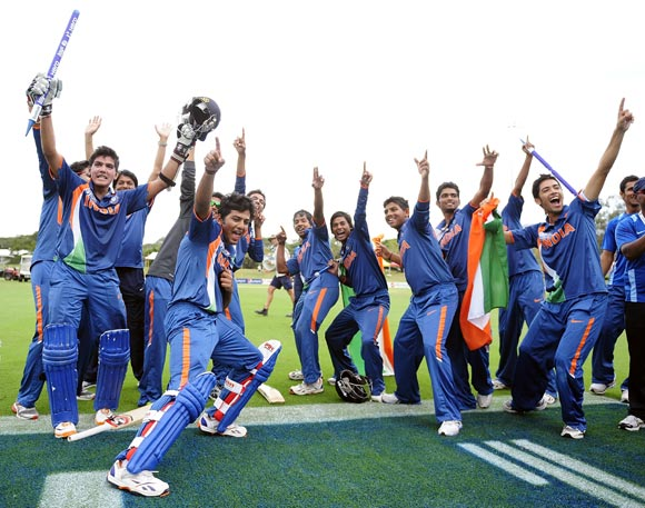 The Indian Under-19 team celebrate winning the World Cup