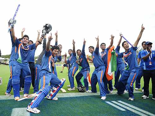 India's under-19 players celebrate after winning the World Cup