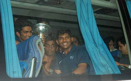 Indian players with the Under-19 World Cup trophy