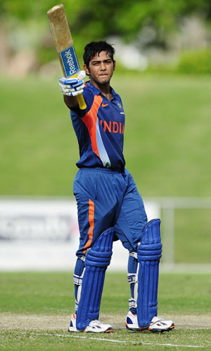 Unmukt Chand of India waves to the crowd after scoring century during the match between Australia and India on day five of the U19 International Quad Series at Tony Ireland Stadium in Townsville on April 15, 2012