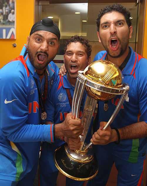 Harbhajan Sing, Sachin Tendulkar and Yuvraj Singh