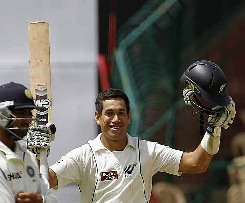 New Zealand's Ross Taylor celebrates after scoring century during first day of their second Test match against India in Bangalore