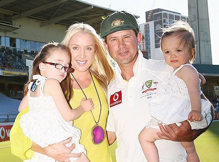 Ricky Ponting poses with his wife Rianna, and their children, Emmy and Matisse after day four of the Third Test on Monday