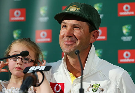 Ricky Ponting addresses a media conference with his daughter Emmy after playing his last International cricket match on Monday