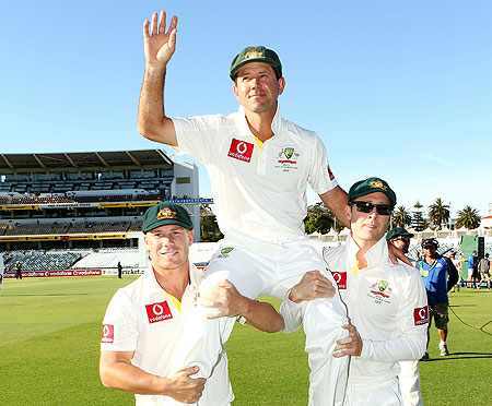 Ricky Ponting of Australia is chaired by David Warner and Michael Clarke after retiring from International cricket at WACA on Monday