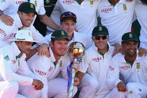 The South Africa team with the Test championship mace
