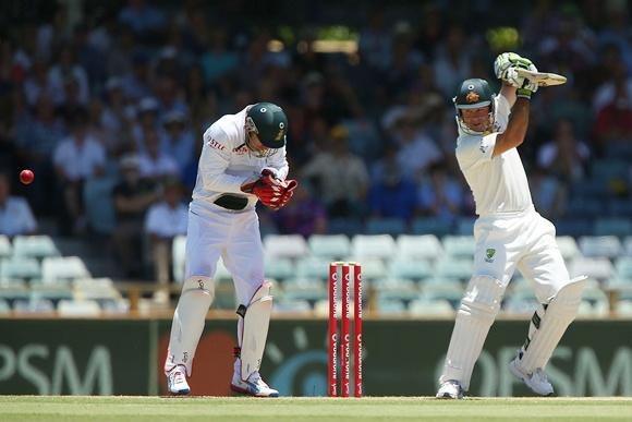 Ricky Ponting of Australia edges the ball