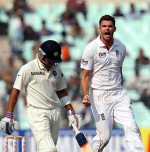 James Anderson celebrates as Virat Kohli departs