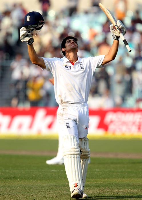 Alastair Cook celebrates his century