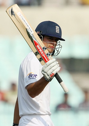 Alastair Cook acknowledges the applause after getting to 150