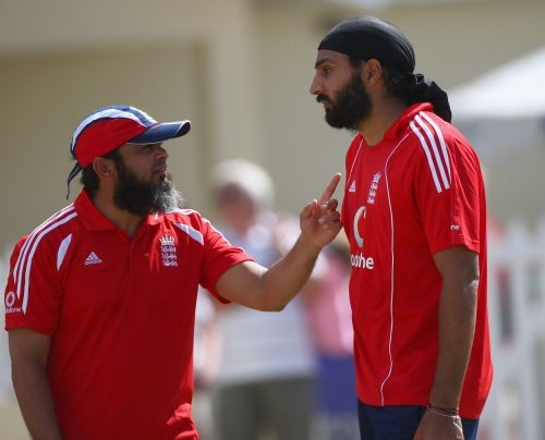 Mushtaq Ahmed with Monty Panesar