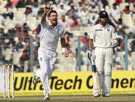 James Anderson celebrates the wicket of Yuvraj Singh