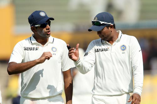 R Ashwin with Pragyan Ojha