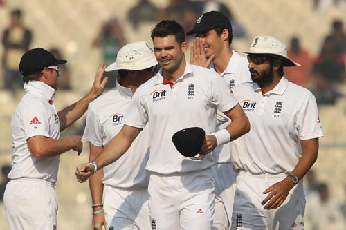 England team celebrates after winning the Kolkata Test on Sunday