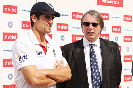 Alastair Cook with ECB Chairman, Giles Clarke
