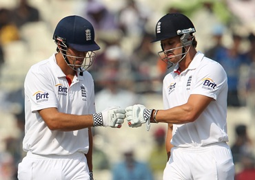 Alastair Cook and Nick Compton during the third Test