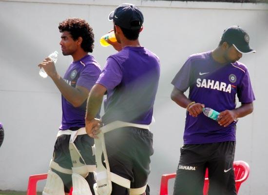 Ravindra Jadeja takes a break during Wednesday's nets session