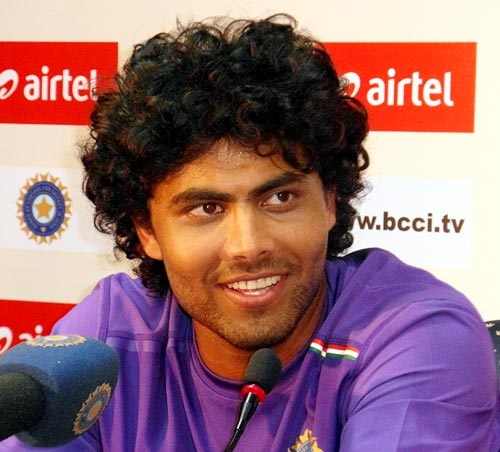 Ravindra Jadeja addresses the media at the end of the first day's pl