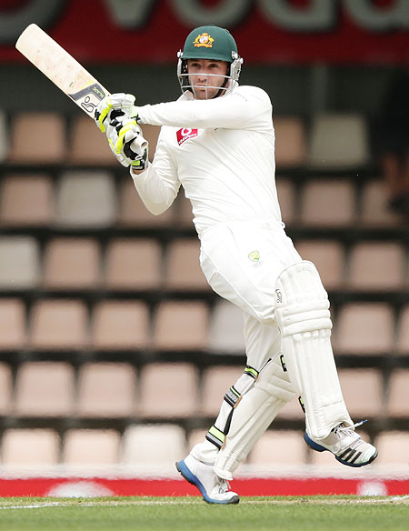 Phillip Hughes of Australia plays a hook shot