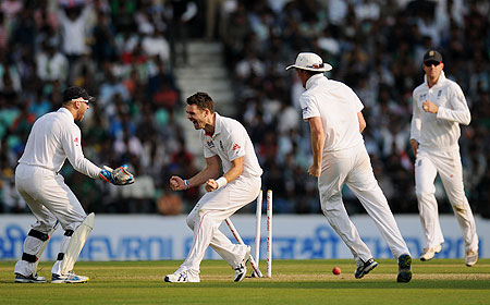 James Anderson of England celebrates the wicket of Sachin Tendulkar on Friday