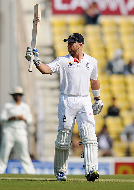Matt Prior of England celebrates after scoring a half century