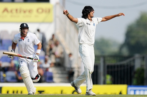 Ishant Sharma celebrates after capturing the wicket of Tim Bresnan