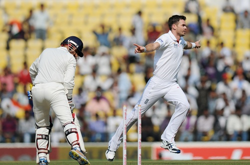 James Anderson celebrates after getting Virender Sehwag bowled out