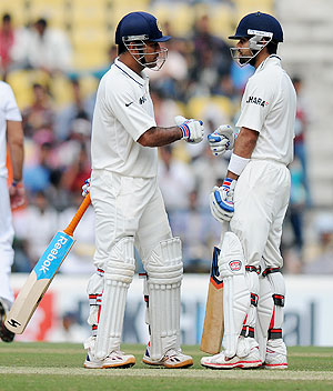 MS Dhoni and Virat Kohli at the crease during their patient knocks on Saturday