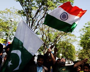 Indian and Pakistani flags