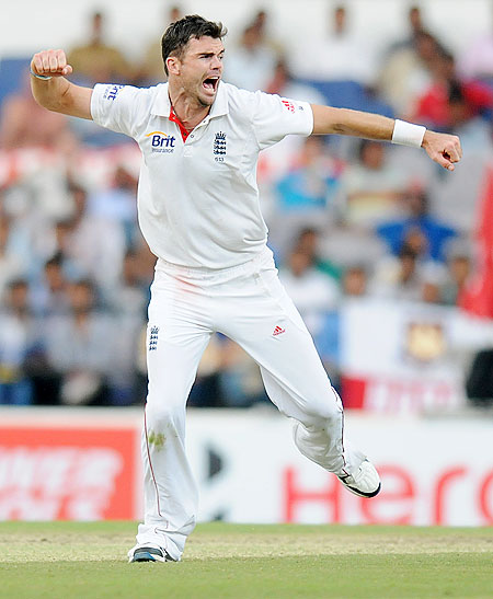 James Anderson is ecstatic after trapping Ravindra Jadeja leg before wicket