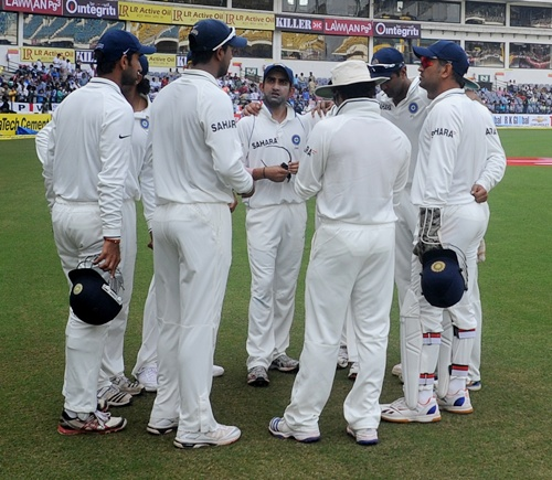 Indian team during a team discussion