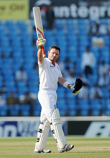 Ian Bell celebrates after scoring his century on Monday
