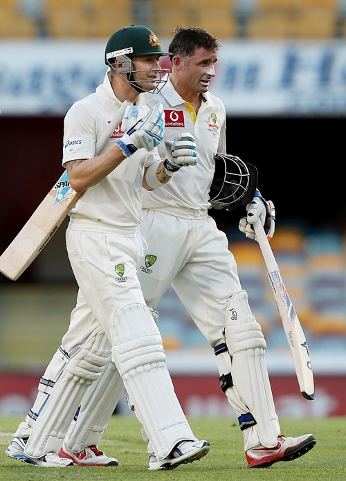 Mike Hussey with Clarke