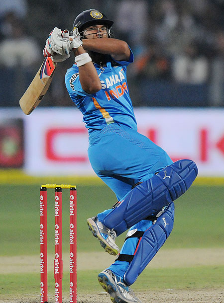 Yuvraj Singh plays a shot during the 1st T20 against England on Thursday