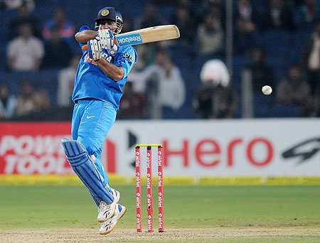 MS Dhoni bats during the first T20