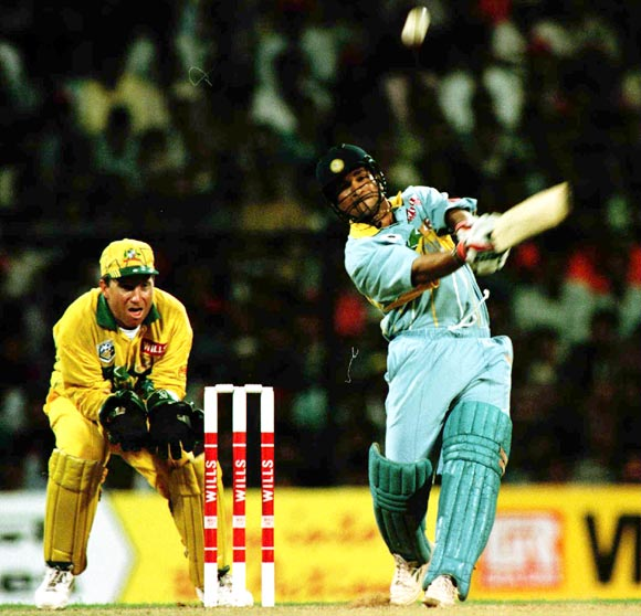 Sachin Tendulkar plays a shot during the 1996 World Cup match against Australia