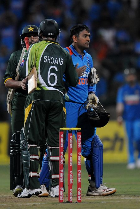 India's MS Dhoni reacts after losing the Twenty20 match against Pakistan