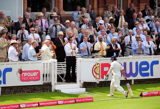 Sachin Tendulkar walks back to the pavilion at Lord's