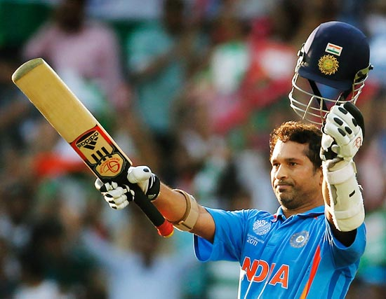 Sachin Tendulkar acknowledges the appreciation after his century against South Africa in the 2011 World Cup in Nagpur