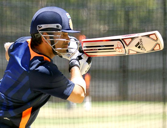 Sachin Tendulkar bats in the nets