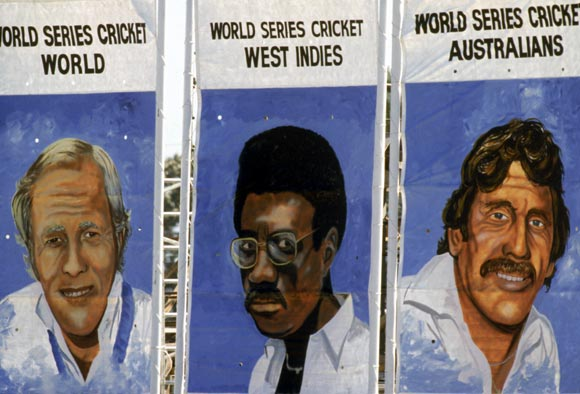 Portraits of England captain Tony Greig, West Indies captain Clive Lloyd and Australia captain Ian Chappell during the World series in Sydney, on January 1979.