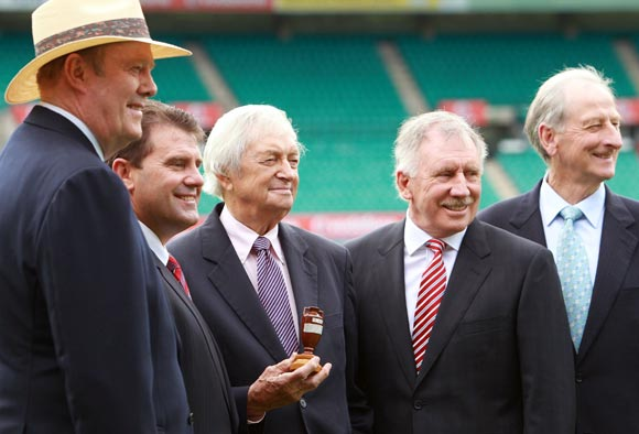 (Left to right) Tony Greig, Mark Taylor, Richie Benaud, Ian Chappell and Bill Lawry