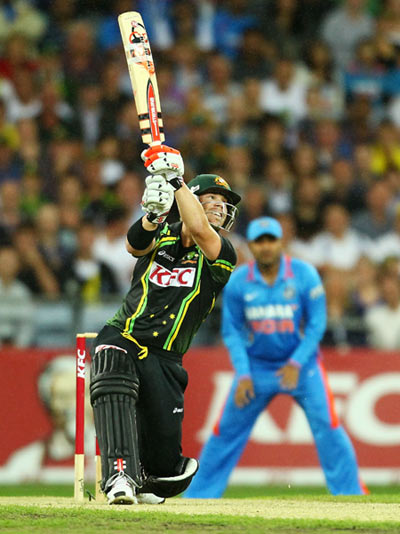 David Warner of Australia bats during the International Twenty20 match between Australia and India at ANZ Stadium on February 1, 2012 in Sydney