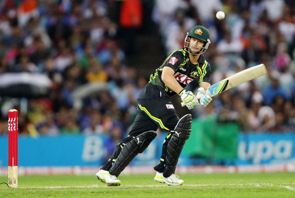 Matthew Wade of Australia plays a leg side shot during the International Twenty20 match between Australia and India at ANZ Stadium on February 1, 2012 in Sydney