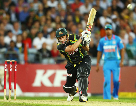 David Hussey of Australia bats during the International Twenty20 match between Australia and India at ANZ Stadium