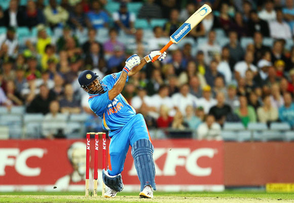 MS Dhoni of India bats during the International Twenty20 match between Australia and India at ANZ Stadium on February 1, 2012 in Sydney
