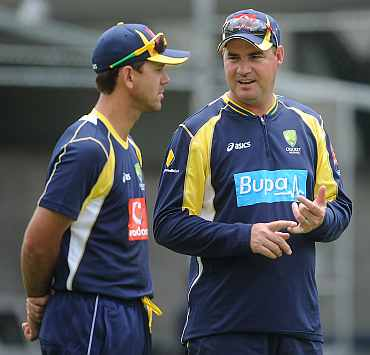 Ricky Ponting with coach Mickey Arthur
