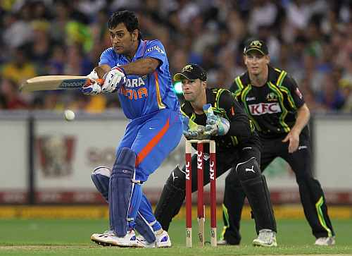 MS Dhoni plays a shot during the second Twenty20 match in Melbourne